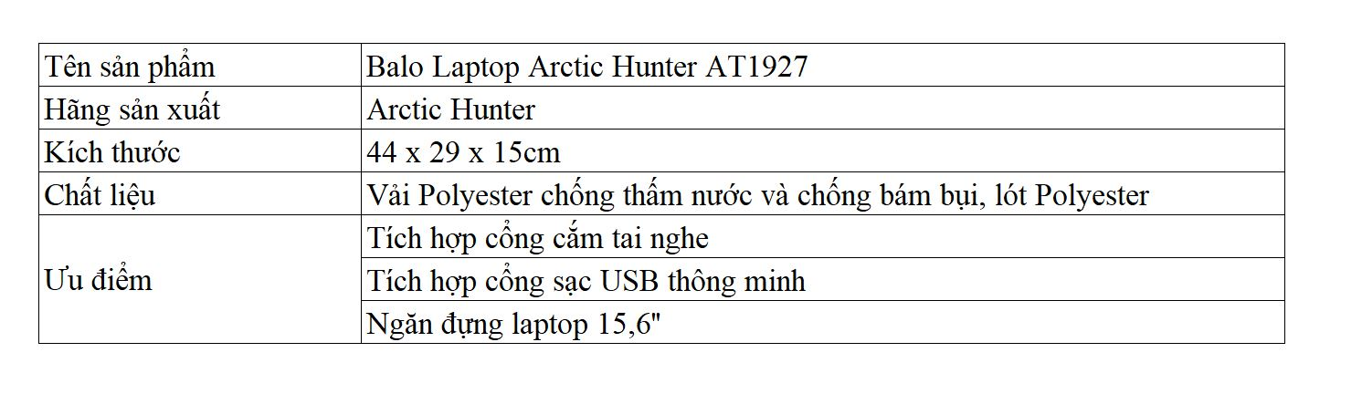 Balo Laptop Arctic Hunter AT1927