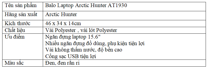Balo Laptop Arctic Hunter AT1930